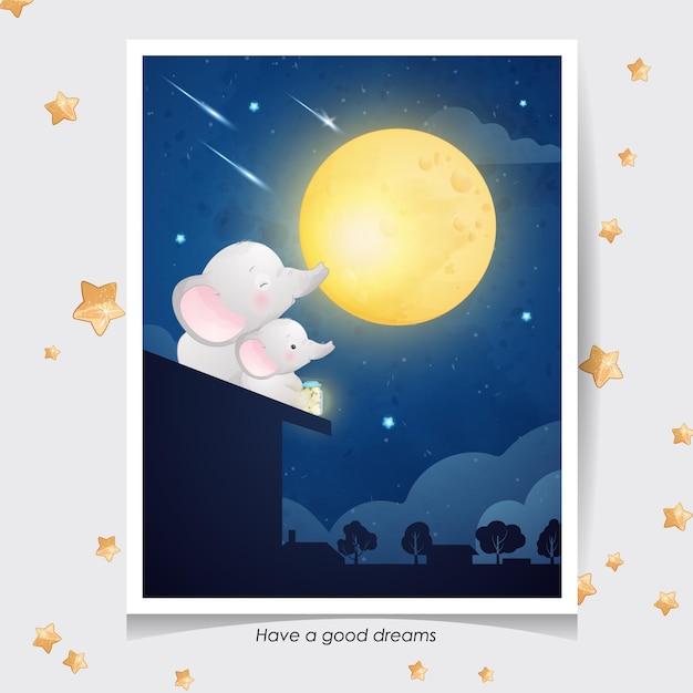 Leuke doodle olifant met aquarel illustratie Premium Vector