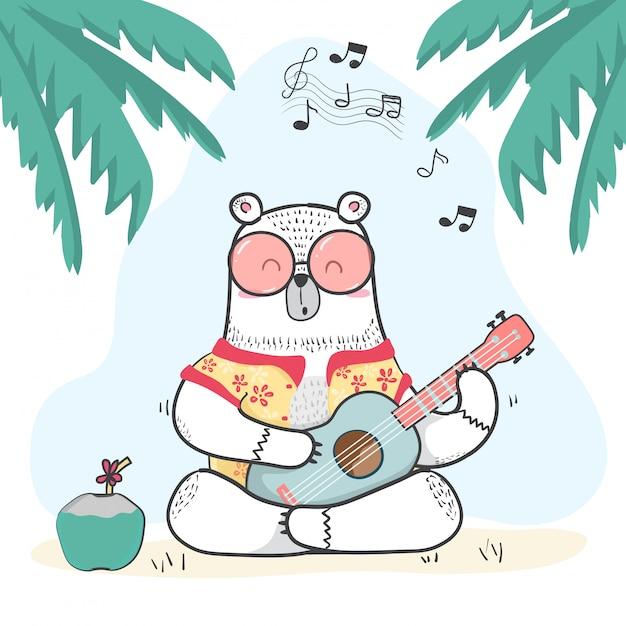 Leuke doodle witte beer in zomer shirt speelt gitaar Premium Vector