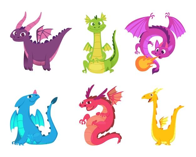 Leuke draken. sprookjesachtige amfibieën en reptielen met vleugels en tanden middeleeuwse fantasie wilde wezens karakters Premium Vector