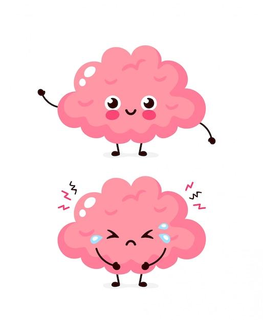 Leuke droevige ongezonde zieke en sterke gezonde glimlachende gelukkige hersenen. Premium Vector