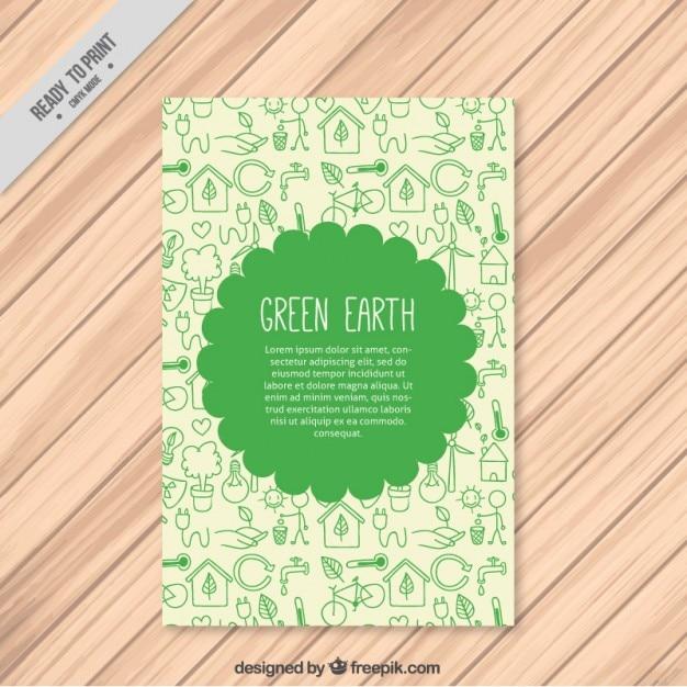 Leuke ecologische flyer met tekeningen Gratis Vector