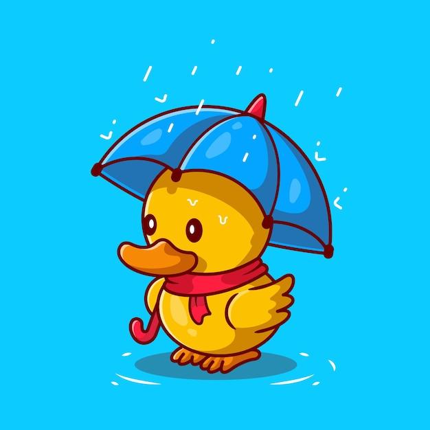 Leuke eend met paraplu in de regen cartoon pictogram illustratie Gratis Vector