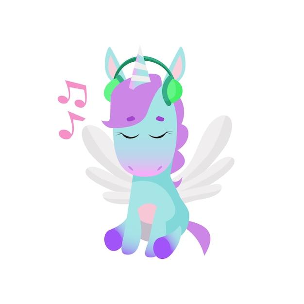 leuke eenhoorn die aan muziek in hoofdtelefoons luistert vector