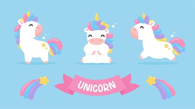 Leuke eenhoorn paard cartoon set met een regenboog pastel vallende ster geïsoleerd op de achtergrond Premium Vector