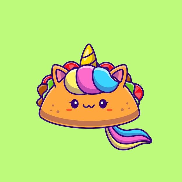 Leuke eenhoorn taco cartoon afbeelding. dierlijk voedselconcept geïsoleerd. platte cartoon Gratis Vector