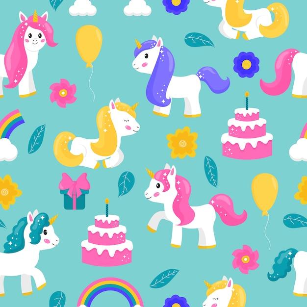 Leuke eenhoorns van het beeldverhaal naadloze patroon met cake, ballon, regenboog en gif Premium Vector