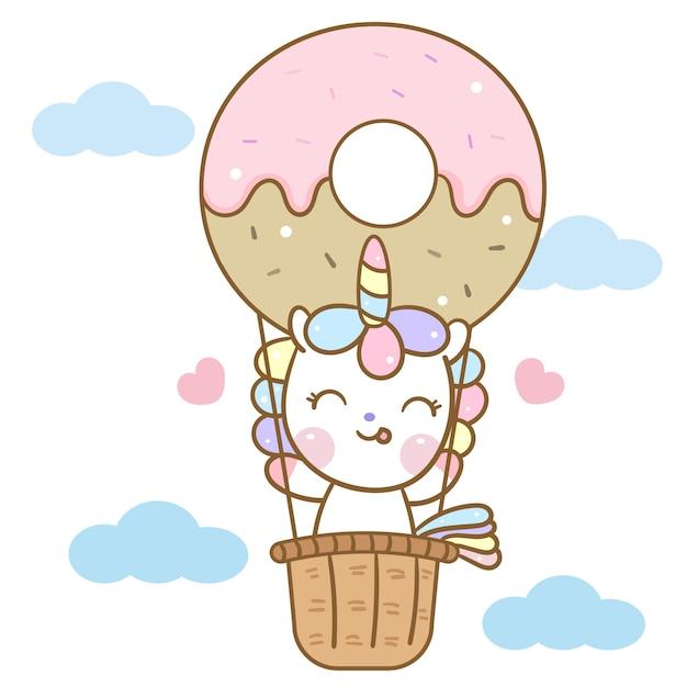Leuke eenhoornvector in het beeldverhaal van de doughnutballon Premium Vector