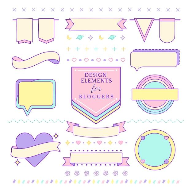 Leuke en girly ontwerpelementen voor bloggersvector Gratis Vector