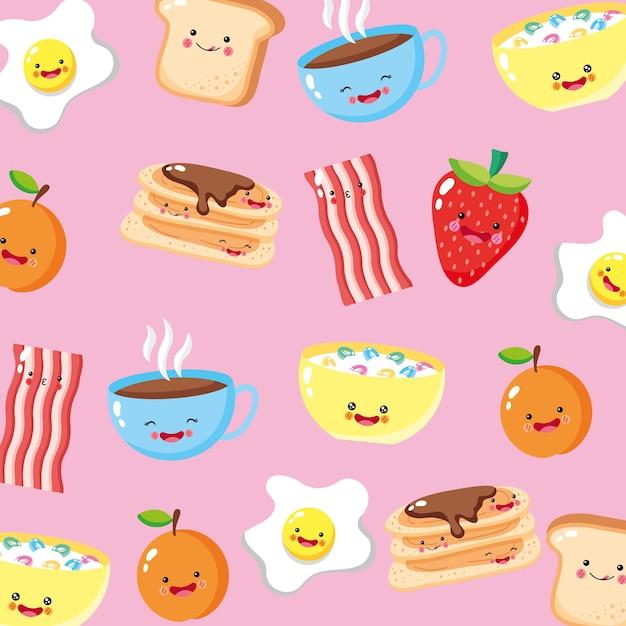 Leuke en grappige het patroonachtergrond van ontbijtpictogrammen Premium Vector