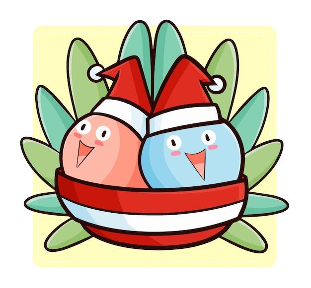 Leuke en grappige kawaii twee ijs in kom met kerstmuts voor kerstmis Premium Vector