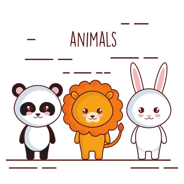 Leuke en kleine dierenkarakters Premium Vector