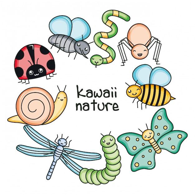 Leuke en kleine kawaiikarakters van tuindieren Premium Vector