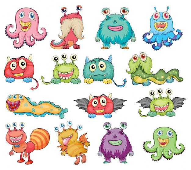 Leuke en kleurrijke monsters Gratis Vector