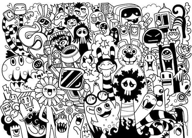Leuke enge halloween-monsters en snoep, set van grappige schattige monsters, aliens of fantasiedieren voor kinderen kleurboek Premium Vector
