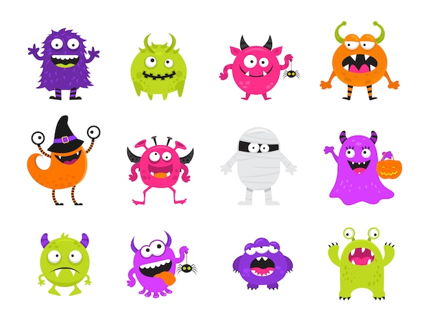 Leuke enge halloween monsters set Premium Vector