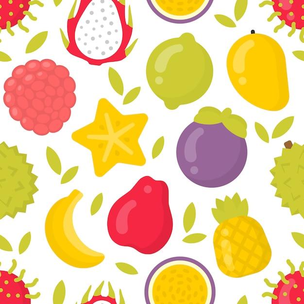 Leuke exotische vruchten, naadloos patroon op wit Premium Vector