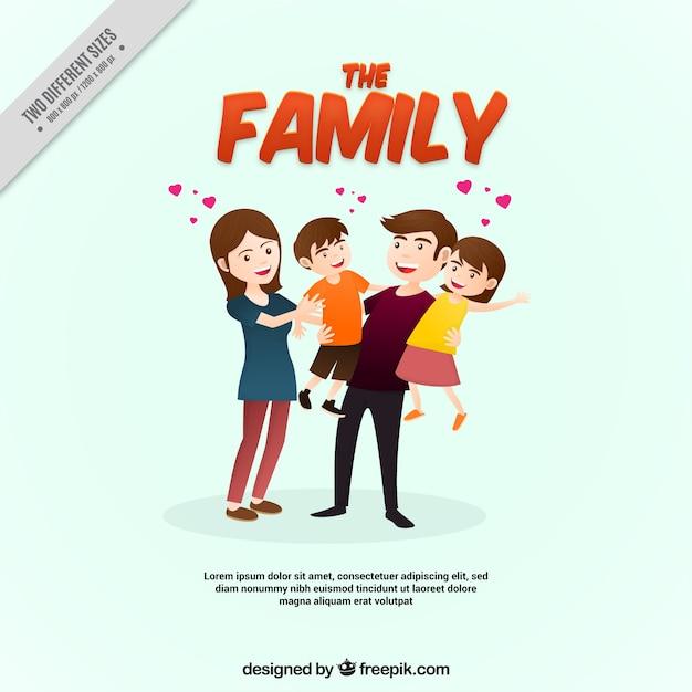 Leuke familie achtergrond Gratis Vector