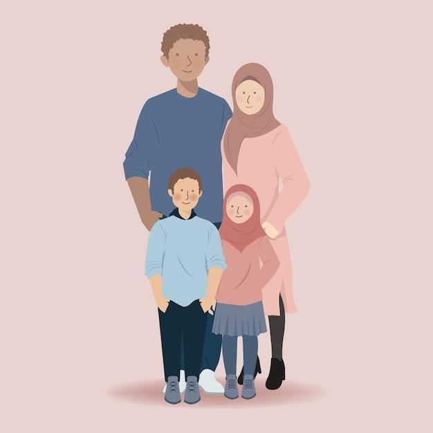 Leuke familie moslim stripfiguur van vader, moeder, zoon en dochter staan samen Premium Vector