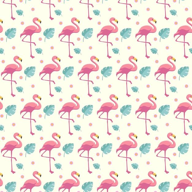 Leuke flamingo naadloze zomer patroon sjabloon achtergrond Premium Vector