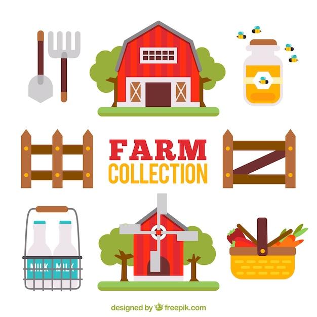 Leuke flat boerderij collectie Gratis Vector