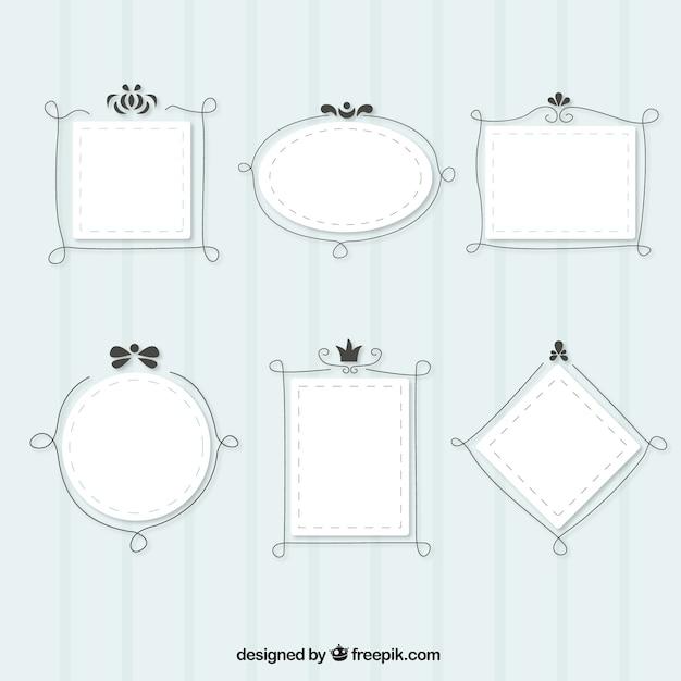 Leuke frames met lijnen Gratis Vector
