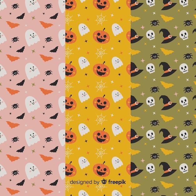 Leuke geanimeerde cartoons platte halloween patroon collectie Gratis Vector