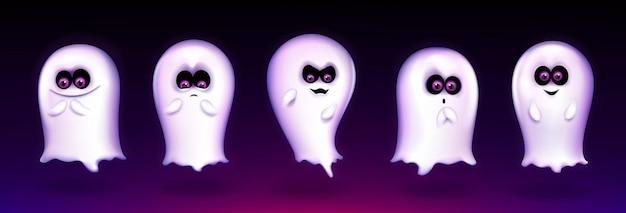 Leuke geest, grappig halloween-wezen drukt verschillende emoties uit, griezelige geest-emoji lacht, schreeuwt boe-geroep. fantasiemonster mascotte met mooi kawaii gezicht, realistische 3d-vectorillustratie, set Gratis Vector