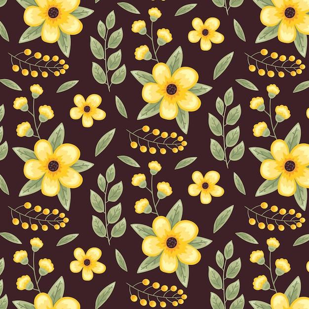Leuke gele bloemen naadloze patroon sjabloon Gratis Vector