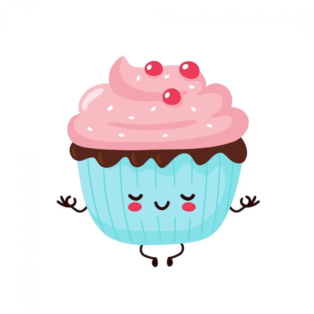 Leuke gelukkig lachend cupcake mediteren in yoga pose. platte cartoon karakter illustratie pictogram ontwerp. geïsoleerd op een witte achtergrond. cupcake, cake, dessert menu concept Premium Vector