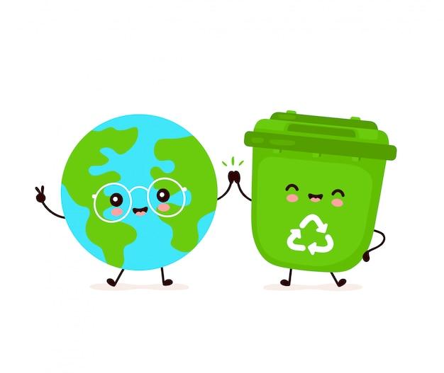 Leuke gelukkig lachend prullenbak en planeet van de aarde. platte cartoon characterdesign illustratie. geïsoleerd op een witte achtergrond. recycling van afval, gesorteerd afval, het concept aarde redden Premium Vector