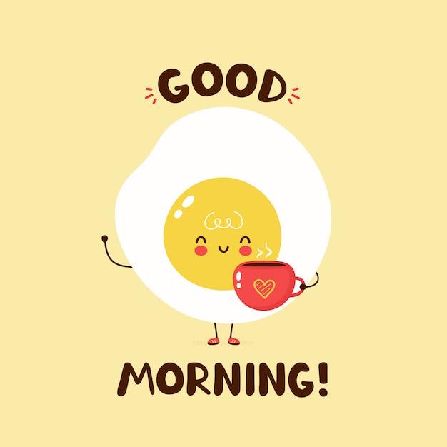 Leuke gelukkige gebraden de koffiekop van de eegreep met hart. vector cartoon karakter illustratie ontwerp, eenvoudige vlakke stijl. gebakken ei en beker karakter concept. goedemorgen kaart, poster, sticker Premium Vector