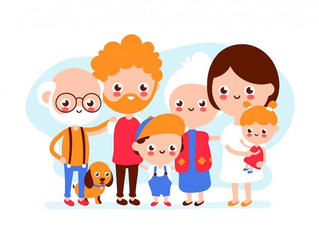 Leuke gelukkige glimlachende grote familie Premium Vector