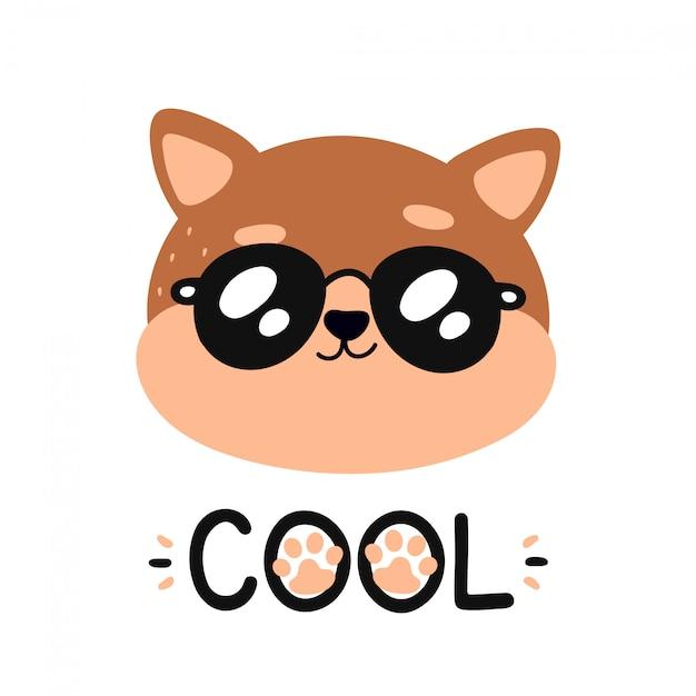 Leuke gelukkige glimlachende koele kat in zonnebril Premium Vector