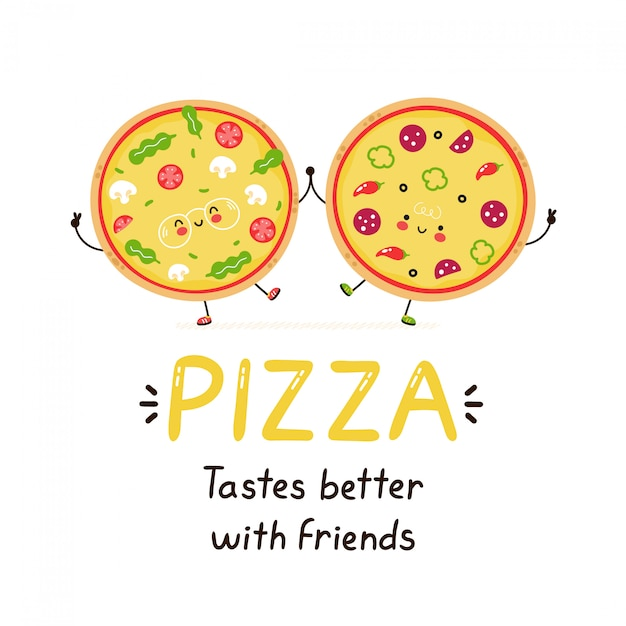 Leuke gelukkige glimlachende pizzavrienden. geïsoleerd op wit. vector cartoon karakter illustratie ontwerp, eenvoudige vlakke stijl. pizza smaakt beter met vriendenkaart. ontbijt eten concept Premium Vector