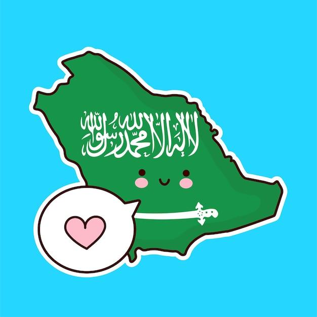 Leuke gelukkige grappige kaart van saoedi-arabië en vlagkarakter met hart in tekstballon. lijn cartoon kawaii karakter illustratie pictogram. saoedi-arabië concept Premium Vector