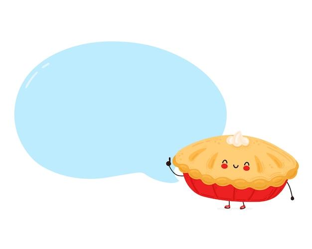 Leuke gelukkige grappige zelfgemaakte taart met tekstballon. geïsoleerd op witte achtergrond. cartoon karakter hand getrokken stijl illustratie Premium Vector