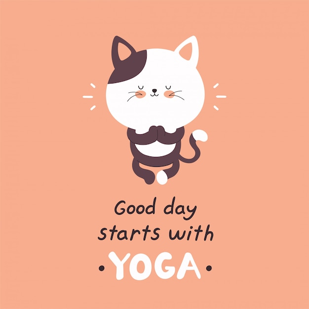 Leuke gelukkige kat mediteren in yoga pose. goede dag begint met yogakaart. vector cartoon karakter illustratie ontwerp, eenvoudige vlakke stijl. meditatie concept Premium Vector