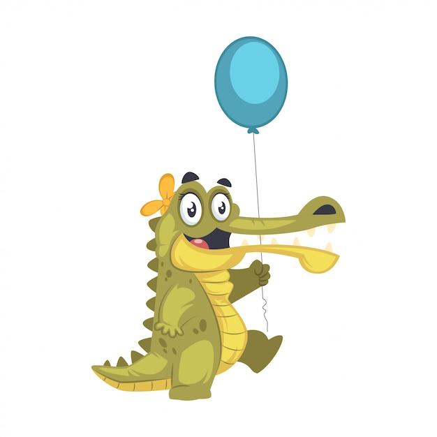 Leuke gelukkige krokodil die een ballon houdt Premium Vector