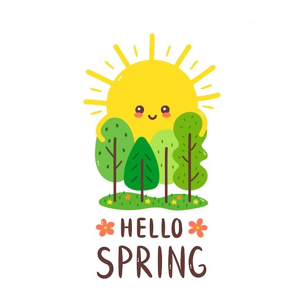 Leuke gelukkige lachende zon knuffels bomen. hallo lente kaart. hand tekenen stijl illustratie kaart desgin. geïsoleerd op wit. lente, zon, bos Premium Vector