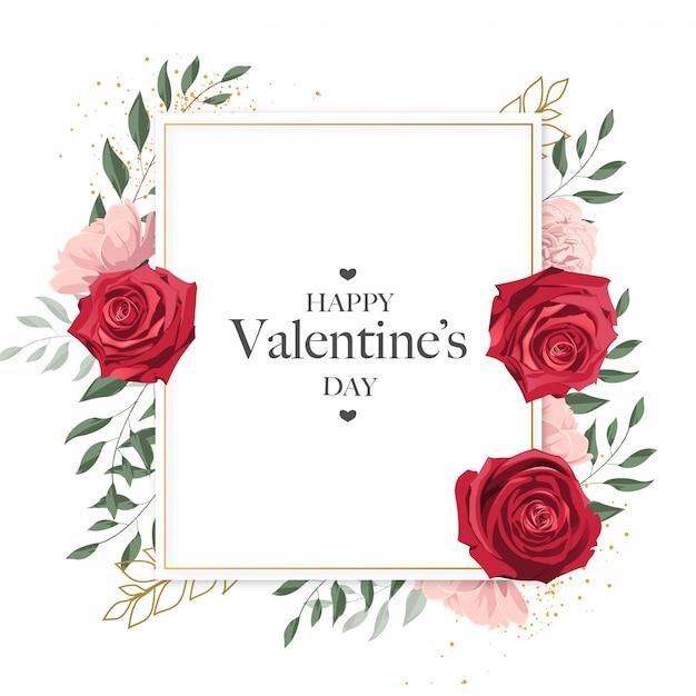Leuke gelukkige valentijnsdag gouden frame kaart met bloemen Premium Vector