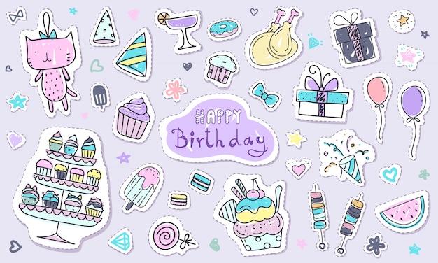 Leuke gelukkige verjaardag sticker collectie in doodle stijl Premium Vector