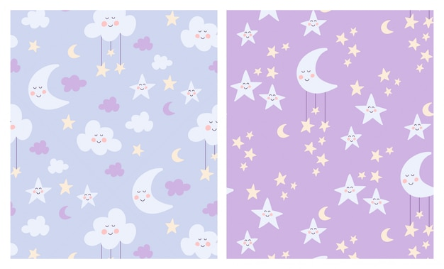 Leuke geplaatste maan, wolken en sterren naadloze patronen Premium Vector