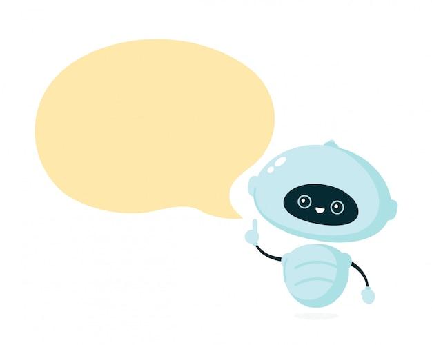 Leuke glimlachende robot, bot met tekstballon. Premium Vector