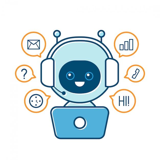 Leuke glimlachende robot, chat bot en communicatie tekenen. moderne platte cartoon karakter illustratie. geïsoleerd op wit. spreek zeepbel. stem ondersteuning service communicatie chat bot Premium Vector