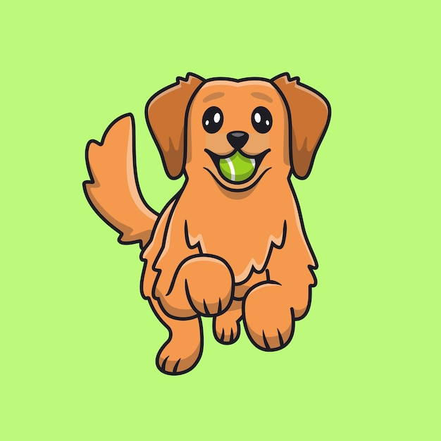 Leuke golden retriever speelbal Gratis Vector