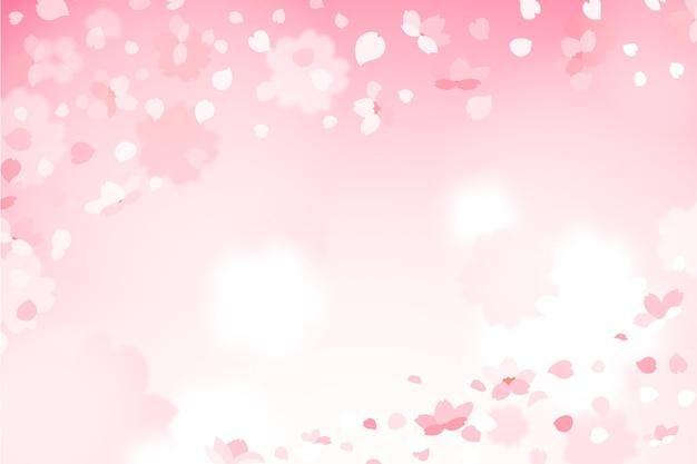 Leuke gradiënt sakura bloemblaadjes achtergrond Premium Vector