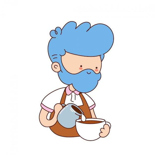 Leuke grappige jonge barista maken koffie. cartoon karakter illustratie pictogram ontwerp. geïsoleerd op een witte achtergrond Premium Vector