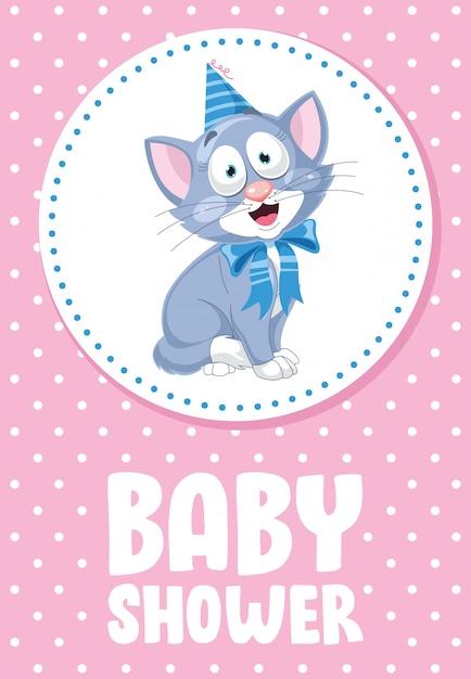Leuke grappige kleine kat poseren, kaart voor baby shower Premium Vector