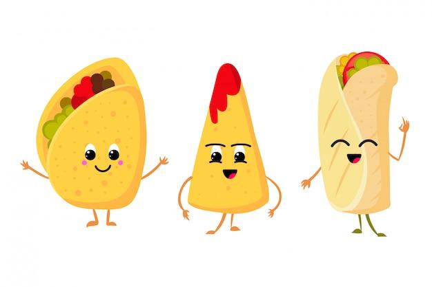Leuke grappige maïstaco, burrito en nachos met glimlach in gezicht. verse lunch mexicaans eten vector set Premium Vector