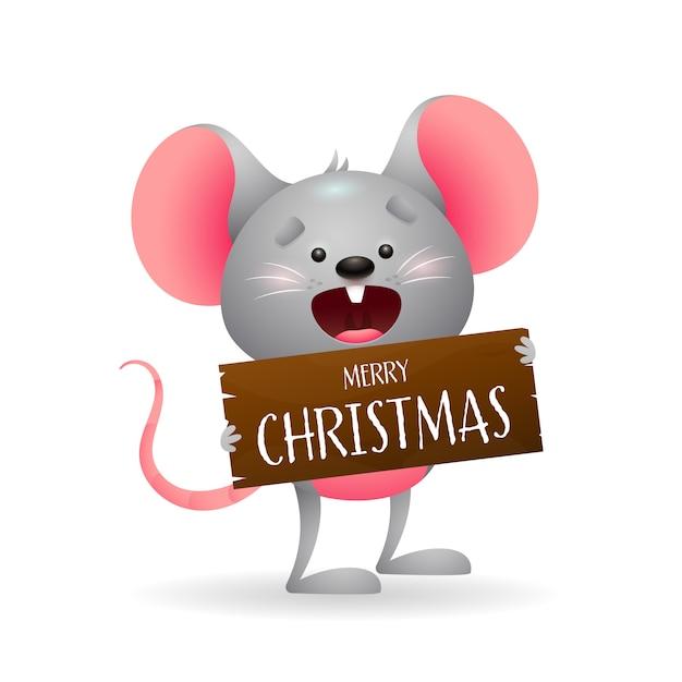 Leuke grappige muis die vrolijke kerstmis wenst Gratis Vector